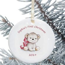 Baby's 1st Christmas Personalised Ceramic Christmas Tree Decoration - Baby Girl Bear Design - New Baby Bauble Holiday Ornament
